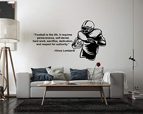 American Football Wall Decal Player Sport Motivational Inspiring Quote Team Boys Room am02 (Inspiring Football)