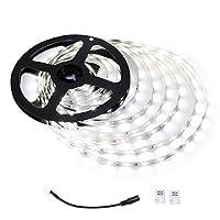 Luz de tira LED LE 12V, flexible, SMD 2835, luz de cinta de 16.4 pies para hogar, cocina, fiesta, debajo del gabinete y más, no impermeable, luz de día, blanco