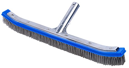Pooline 18inch; Pool Brush (Curved) with Aluminum Back and Handle - Stainless Steel Bristles - Blue Brush Body by Pooline