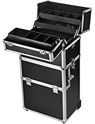 Gotobuy Rolling Makeup Case Salon Cosmetic Organizer Train Trolley Christmas Gift