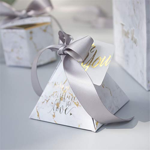 JONARO 50 pcs Marble Style Gift Box Triangular Pyramid Candy Box Wedding Gifts for Guests Wedding Decoration
