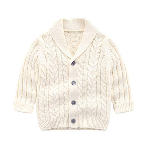 Infant Baby Boys Cardigan Crochet Sweater V-Neck,Toddler Knit Button up Knitted Pattern Pullover Sweatshirt Spring,Beige,18-24M