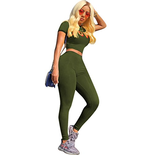 Mojessy Women's 2 Piece Outfits Short Sleeve Crop Top Shirt + Skinny Pants Set Clubwear Medium Army Green by Mojessy (Image #2)