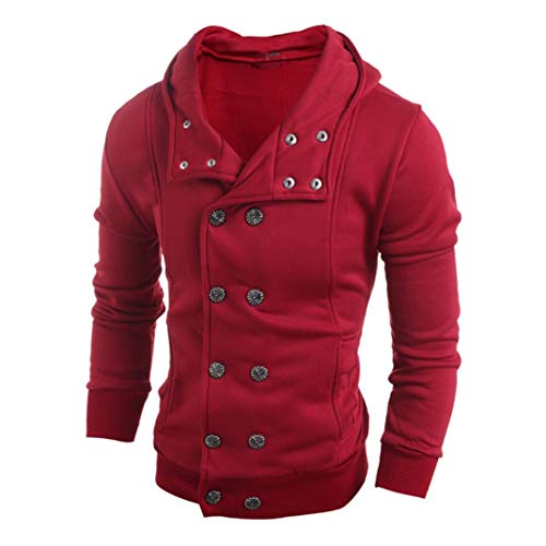 Fashion Autumn Winter Men Hooded Sweater Top Blouse Button Down Windproof Motorcycle Jacket Coat (Red, L) by Danhjin (Image #1)