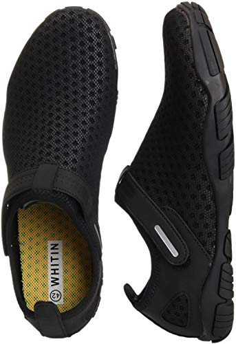 (WHITIN Men's Quick Drying Water Shoes for Aqua Hiking Trail Running Sport Minimalist Barefoot Wave Walking Beach Swim Surf Outdoor Kayaking Athletic Male Black Size 11)