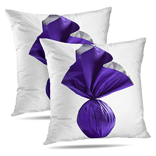 "Soopat Decorative Throw Pillow Cover Square Cushion 18""X18"" Set of 2, Egg Purple White Easter Bunny Celebr Chocolate Color Colorful Pillowcase Home Decor Kitchen Garden Sofa from Soopat"