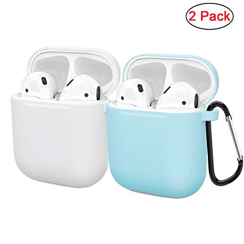 Compatible AirPods Case Cover Silicone Protective Skin for Apple Airpod Case 2&1 (2 Pack) White/Blue