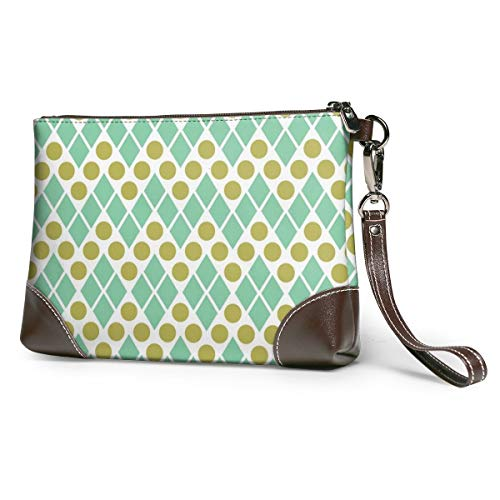 Women's Leather Wristlet Clutch Wallet Dots Pattern Storage Purse With Strap Zipper Pouch