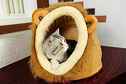 Amazon.com: 1PC Soft velboa Lion Shape Cat Bed Nest Puppy Dogs House Pets Casetas Para Perros: Clothing