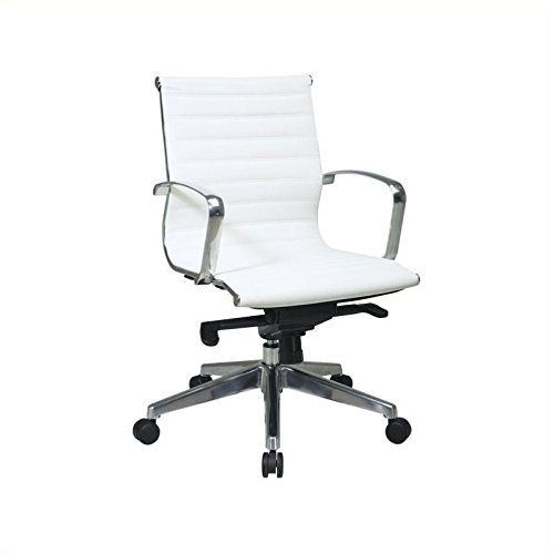 (Office Star Mid Back Eco Leather Seat and Back, Locking Tilt Control and Polished Aluminum Arms and Base Executive Chair, White)