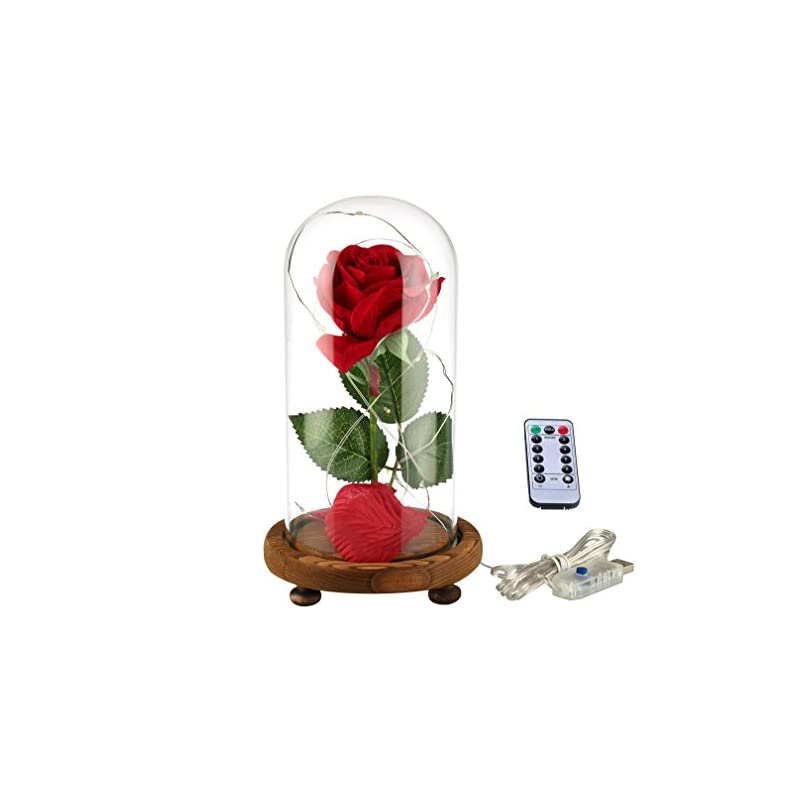 silk flower arrangements ysber beauty & the beast red silk rose and led light with fallen petals in glass dome on a wooden base for lover, mother, girlfriend