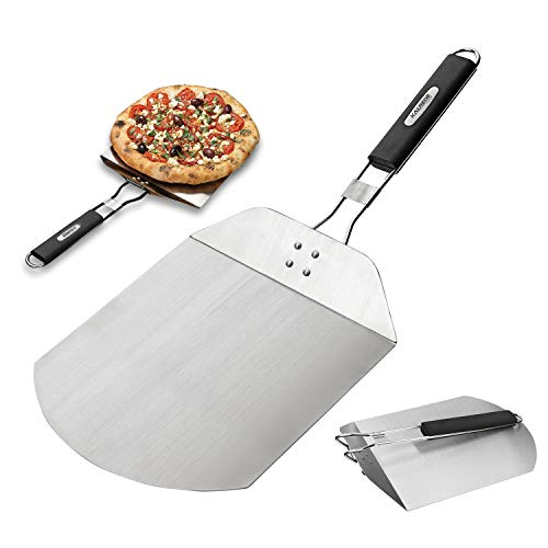 Peel Stainless Steel Pizza - KALREDE Pizza Peel - Pizza Spatula Stainless Steel with Foldable Handle - Pizza Paddle for Baking Homemade Pizza and Bread - Oven or Grill Use (12(L) x 9.8(W) inches)