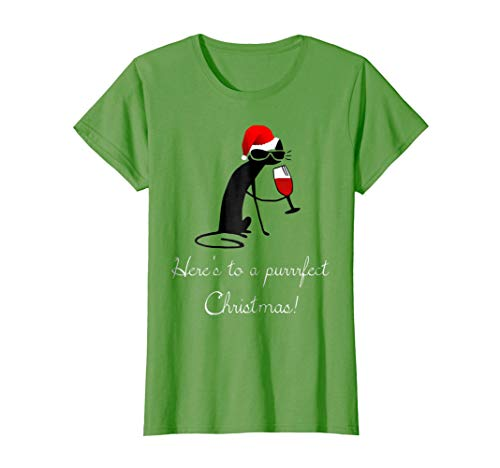 Purrrfect Cat (Womens Funny Christmas Cat Shirt - Purrrfect Christmas Wine T-Shirt Large Grass)