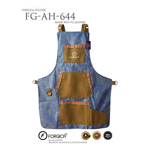 FORGICA Professional Denim Apron Hair Cutting Hairdressing Barber Apron Cape for Salon Hairstylist - Multi-use, Adjustable with 4 pockets - Heavy Duty Premium Quality (Sky-Blue)