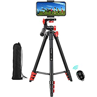 "Phone Tripod for iPhone Tripod Stand, 53"" Cell Phone Tripod, Premium Aluminum Alloy Camera Tripod with Wireless Remote Shutter, Extendable Portable Tripod for Mini Projector iPad Tripod(Red)"