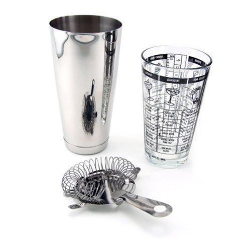 (Co-Rect Stainless Steel Bar Set which Includes Mixing Glass with Recipes Shaker and Bar Strainer)