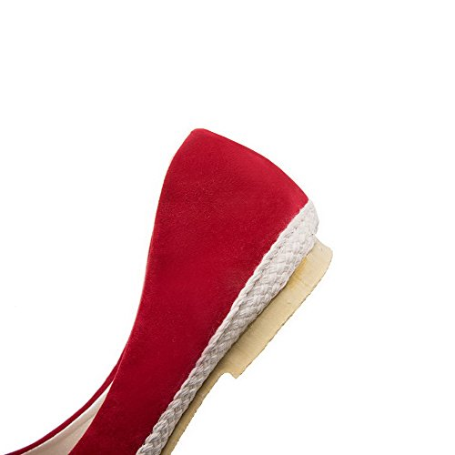 Heels Women's Sandals Materials Toe on Blend Low Red Pull WeiPoot EGHLG004791 Open nagYqSYw