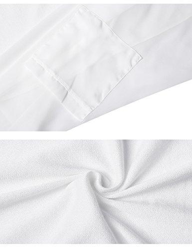 asimmetrico Gilet Donna tasche lunghe Giacca nero in chiffon Cardigan aperta lungo Colletto bianco Bolero maniche con HU16xAHqn