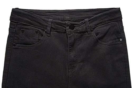 Casual Retrò Slim Fit Nero Strappati Especial Estilo Pantaloni Uomo Stretch Da Moda Jeans COTnvqHwT