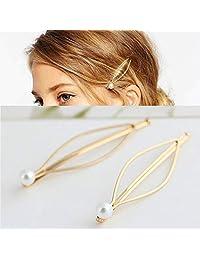 HAWEEL Bandas para la Cabeza y Aros, 3 UNIDS Joyería de Moda Simple Horquillas Clips Horquillas Horquillas Chapado Mujeres Perla Pinzas para el Cabello Vestido de Novia (Color : Gold)