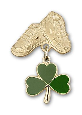ReligiousObsession's 14K Gold Baby Badge with Shamrock Charm and Baby Boots Pin