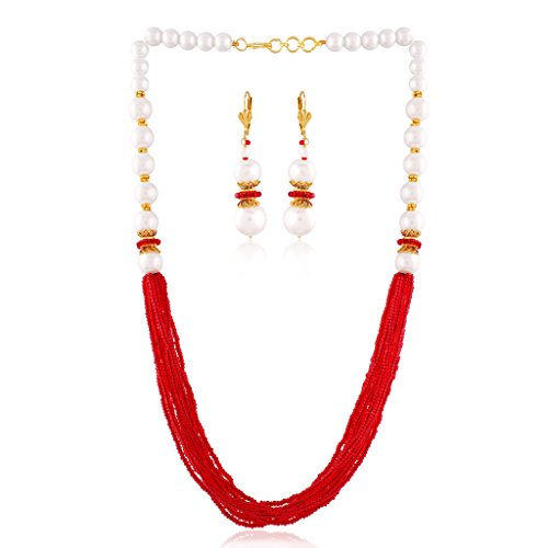 I Jewels Pearl Necklace set Fashion Wear for Women PE03R by I Jewels
