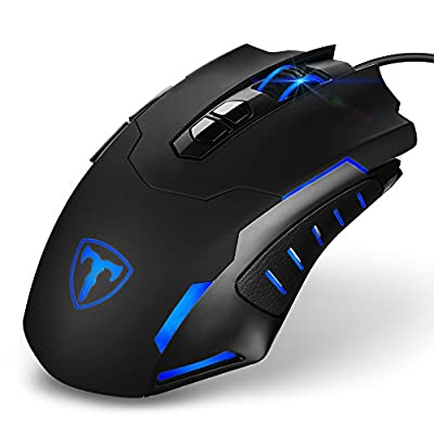 Wired usb laptop game mouse black pc mouse gaming 7200 DPI LED backlight game mouse wired, 16 million color backlit 7 button computer mouse, customizable gaming mouse for Windows 7/8/10/XP