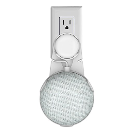 Hmount Outlet Wall Mount Stand Hanger for Google Home Mini Voice Assistants, Compact Holder Case Plug in Kitchen Bathroom Bedroom, Hides the Google Home Mini Cord (White)