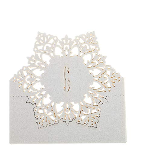 (YUFENG Numbers Table Cards for Wedding Laser Cut Place Cards (White Number 1-10) Snowflake Style)