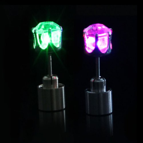 Change 1 Pair Light Up Led Stud Party Multi-color Earrings (Rainbow)
