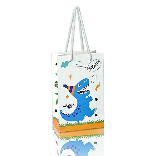 WERNNSAI Dinosaur Gift Bag - 16 Pack Paper Party Bags for Kids Boys Birthday Baby Shower Party Supplies Favor Treat Goodie Bags with Handle