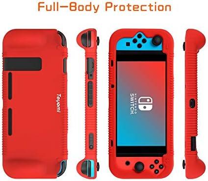 Teyomi - Carcasa de Silicona para Nintendo Switch (Incluye Protector de visualización de Vidrio Templado), Rojo 7