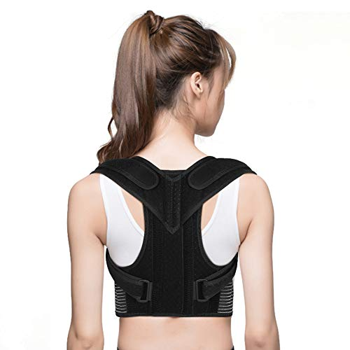 "Back Posture Corrector, Back Brace Upper Back Support with Adjustable Shoulder Straps and Lumbar Belts for Men Women, Improve Posture, Prevent Slouching and Relieve Back Pain (M Waist 28"" - 34"")"