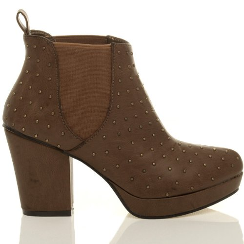 heel shoes ladies Womens Stud Tan block high Studded boots platform size low ankle chelsea Ajvani booties tzqgRnx5z