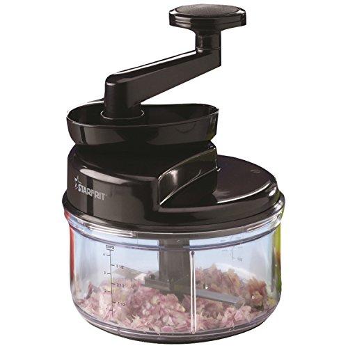 Starfrit 093900-002-BLCK Manual Food Processor, Black/Clear
