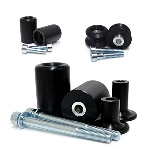 2013-2018 Kawasaki ZX6R ZX6RR ZX636 Black Complete No Cut Frame Slider Kit; Includes: No Cut Frame Sliders, Swing Arm Spools and Bar Ends - 755-4449 - MADE IN THE USA