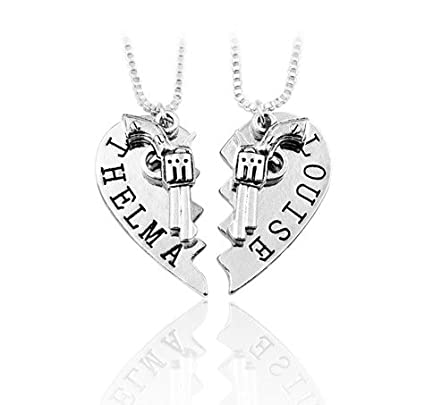 55a9919b Amazon.com : 2pcs THELMA LOUISE Pendant Necklaces Guns Heart Friendship  Adventure Freedom Best Friends Forever : Everything Else