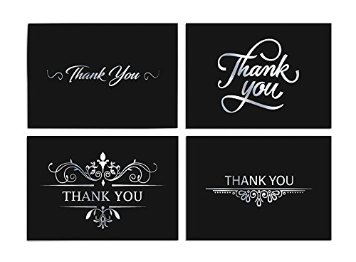 Precious Bridal And Formal - 100 Thank You Cards Bulk Blank Note Cards with 4x6 Envelopes and Stickers - Black Background. Say Thank You in Style -for Casual, Business, Wedding, Graduation, Baby Shower, Christmas and Funerals.