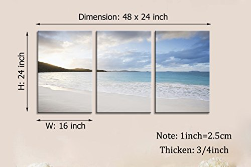 YPY Oil Painting Blue Sea White Color Sunset On The Beach Wall Art On Canvas for Home Décor Hang In The Living Room Bathroom Bedroom Office 16inchx24inchx3pcs