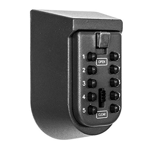 JUN-L 4 Digital Combination Key Storage Lock Box with Resettable Code, Portable Key Safe Box Door Knob or Wall Mount Outside for Realtors, Contractors, Kids, Spare Key Storage