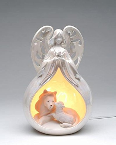 Peace Angel Ornament - 9.25 Inch Light Up Angel with Lion and Lamb Eternal Peace Ornament