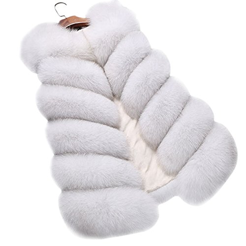 Dikoaina Fashion Women's Warm Long Faux Fox Fur Vest Waistcoat Sleeveless Jacket Coat - Long Fur Vest