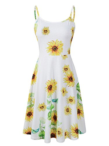 Luckco Women's Sleeveless Adjustable Strappy Summer Floral Flared Swing Dress (X-Large, FL-10)