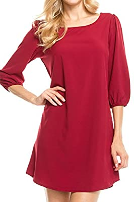 KLKD Women's Solid Round Neck Bishop 3/4 Sleeve Shift Dress