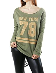 New York #78 Print Sexy Open Back Long Sleeve Top for Women