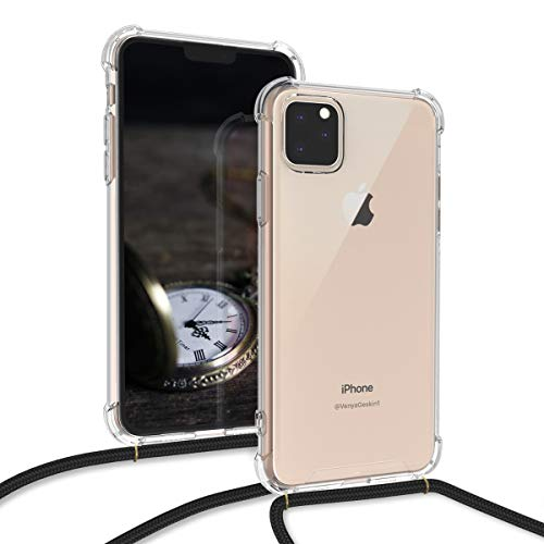kwmobile Crossbody Case Compatible with Apple iPhone 11 Pro Max - Clear Transparent TPU Cell Phone Cover with Neck Cord Lanyard Strap - Transparent/Black