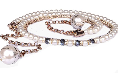 YABINA Layered 2 Row Strand Stone Pearl Chain Link Belt (Bule)