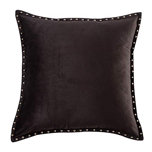 Black Throw Pillow Cover Modern Metallic Rivet Velvet Texture Cushion Cover Square 20x20 Inch (Pillows Black Throw Velvet)
