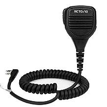 Retevis RS-112 IP54 Waterproof Handheld Remote Speaker Microphone for Retevis RT3/RT8 Two Way Radio Kenwood TH-D7/KPG27/TK-208/NX-5200 BAOFENG UV5R WOUXUN KG-833 TYT TC-2000/TYT-300/D-280 Walkie Talkie