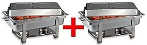 Chafing Dish Chef - Bufets calentadores de platos (2 unidades) y recipientes